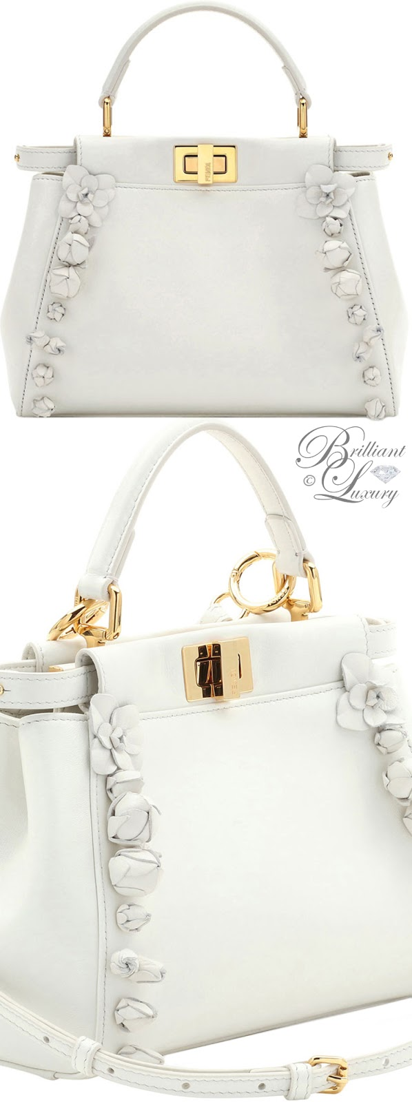 Brilliant Luxury  ♦Fendi Mini Peekaboo Floral-Embellished Satchel Bag #white
