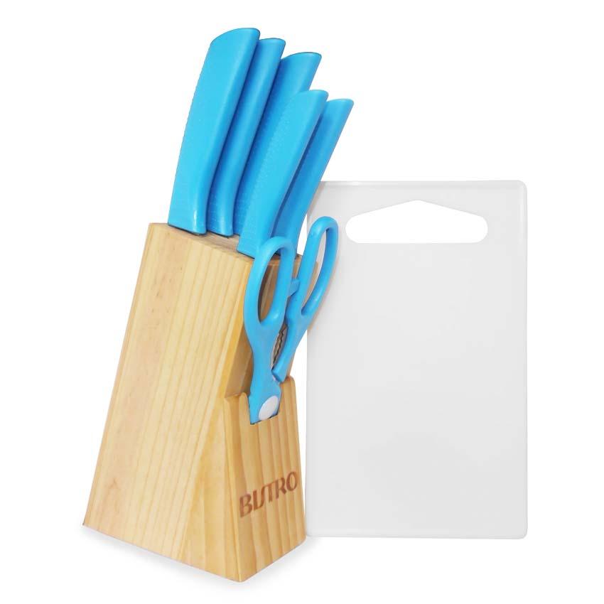 Dapatkan Harga Spesial Unutk Bo 1318 Pisau Dapur Set Bistro 7pcs Talenan Biru Di Perabotan Rumah Tangga