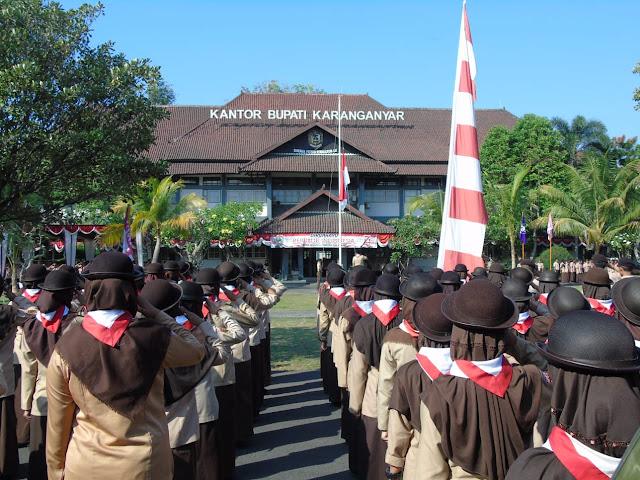 Pasukan Upacara Peringatan ke 58 Kwartir Cabang Kabupaten Karanganyar