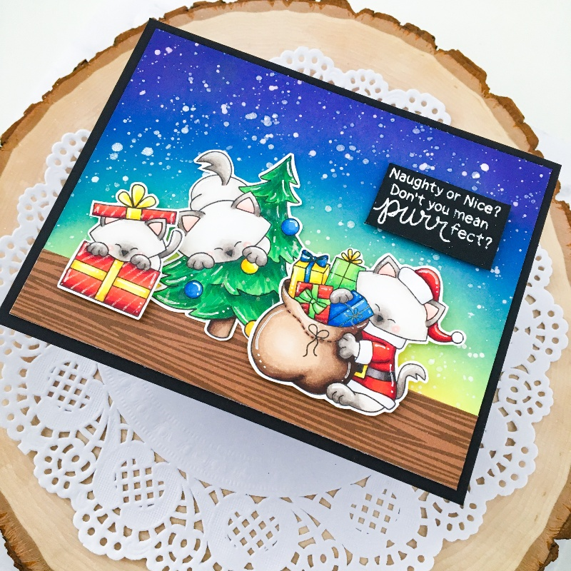 Purr-fect Christmas Card by Guest Designer Ashley Ebben | Newton's Curious Christmas, Santa Paws Newton, & Purr-fect Present Stamp Sets by Newton's Nook Designs #newtonsnook #handmade