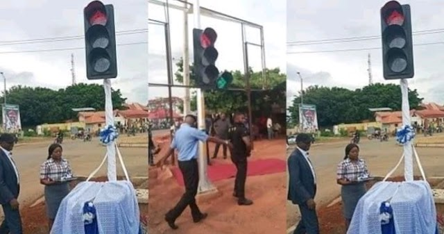 Photos from the commissioning of a traffic light in Cross Rivers state