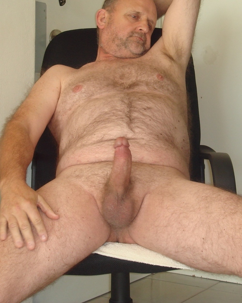 Hairy nude mature man