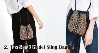Tas Serut Model Sling Bag merupakan salah satu jenis dan model tas serut untuk dijadikan souvenir