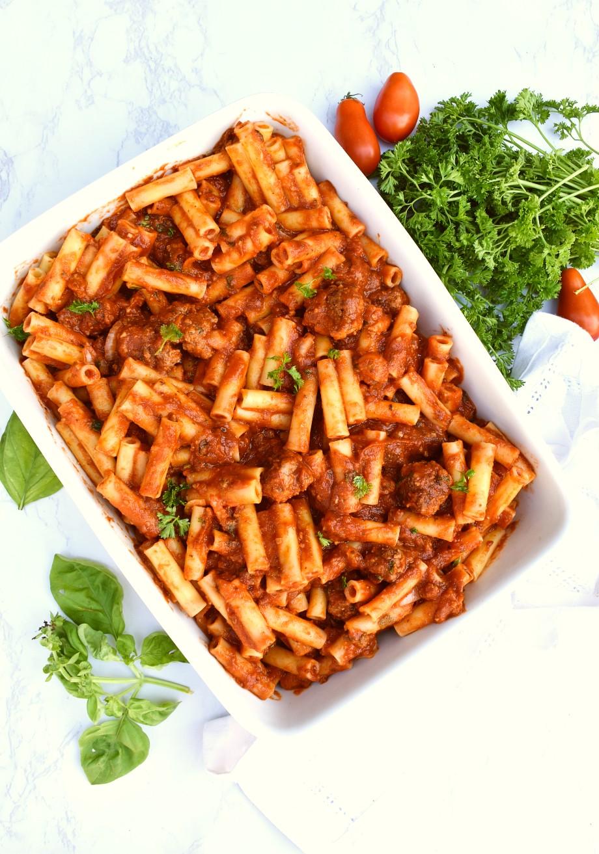 Ziti pasta with meatballs