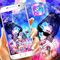 Galaxy Glitter Girl Theme  Apk free Download for Android