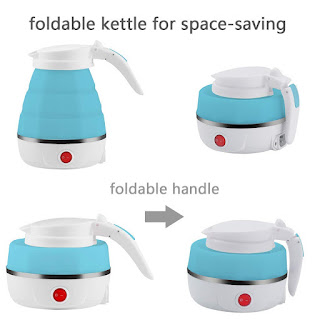 Ketisa Travel Foldable Dual Voltage Food Grade Silicone Boil Dry Protection Electric Kettle (Multicolour)