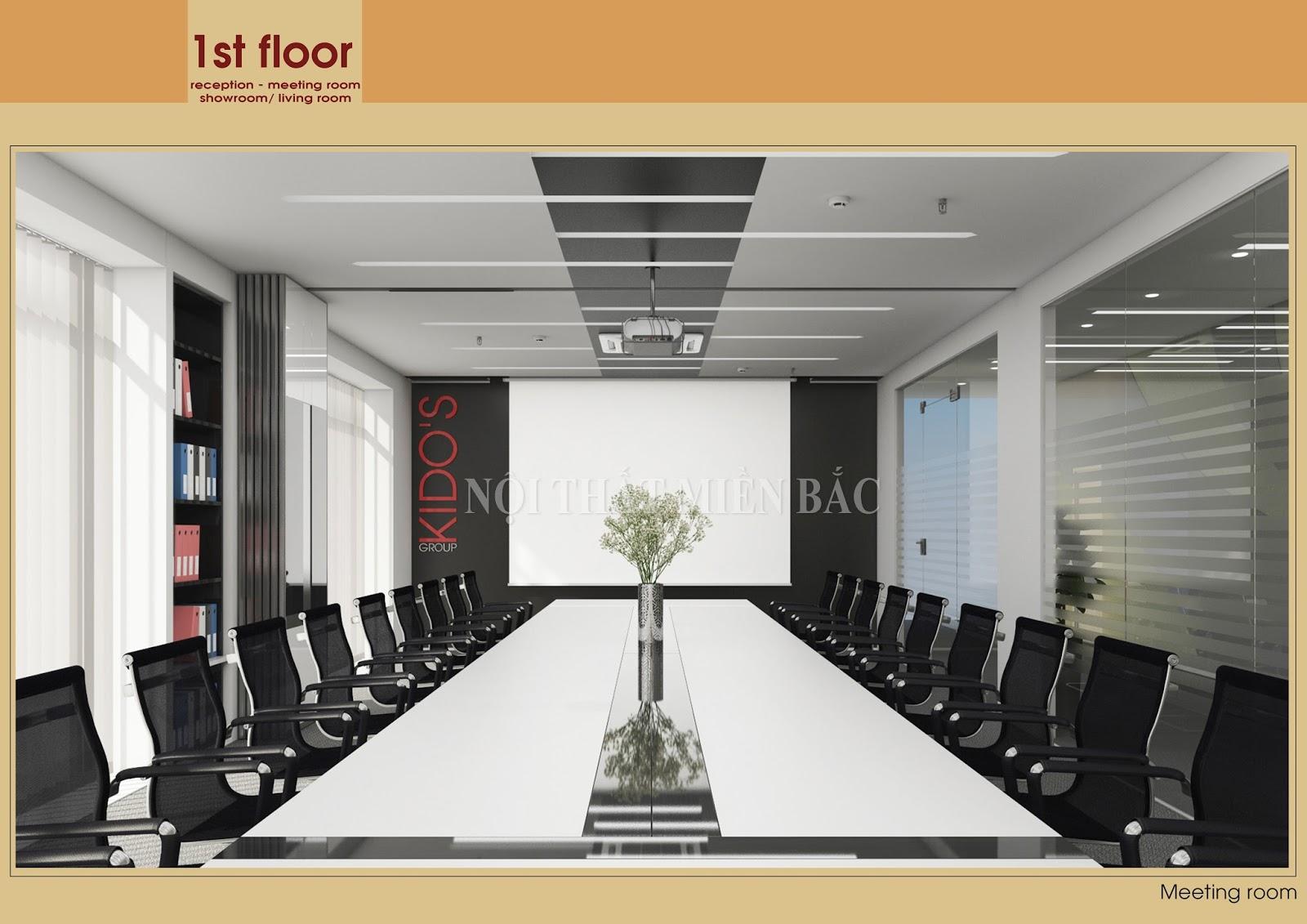 Thiết kế nội thất văn phòng họp tích hợp nhiều công năng