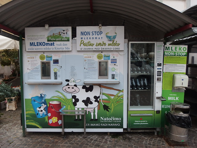 Raw milk for sale in a vending machine - over 70 of these outlets available across Slovenia