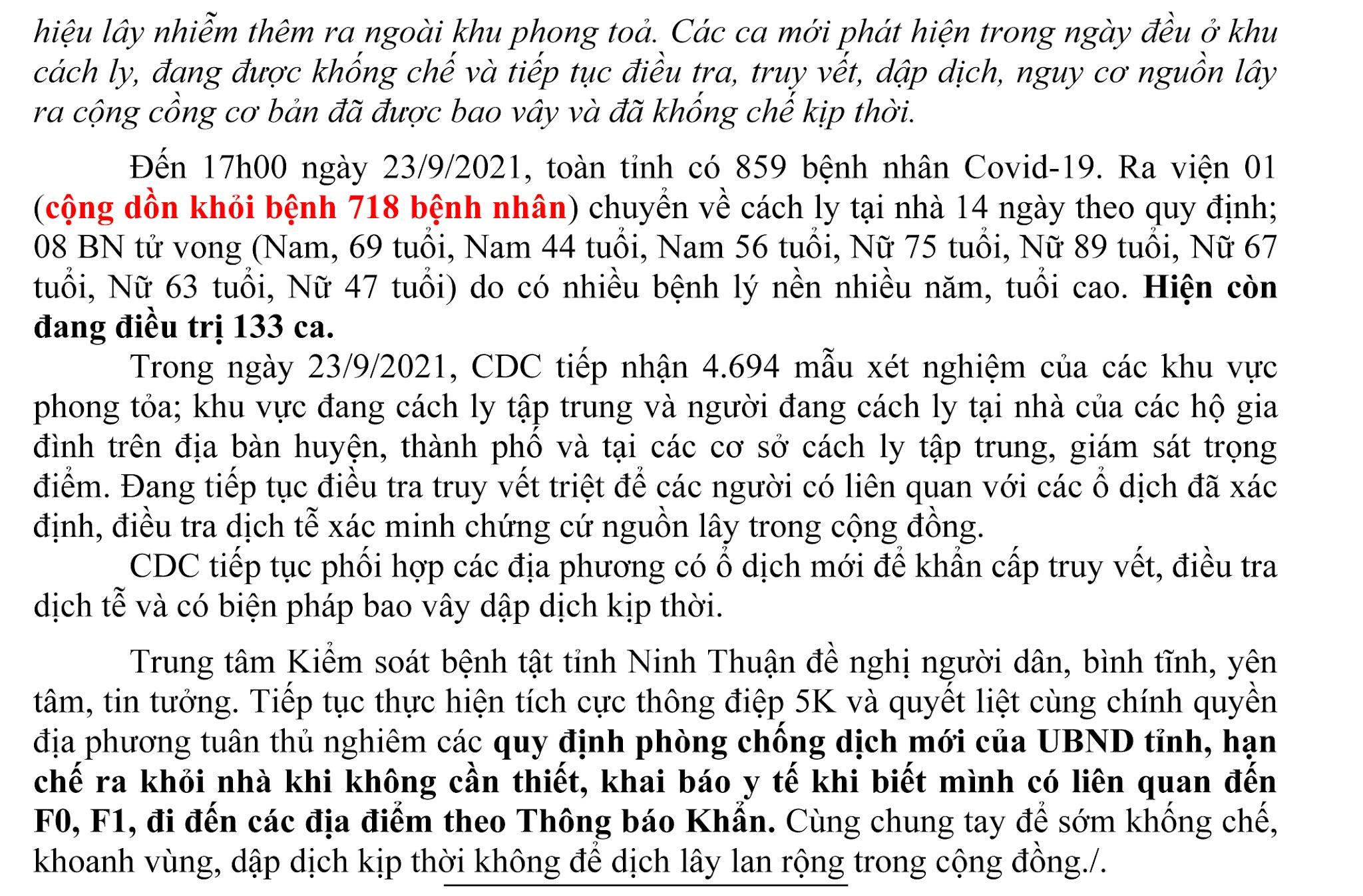 Ngày 23-9 Ninh Thuận ghi nhận 9 ca mắc Covid-19 mới trên địa bàn tỉnh