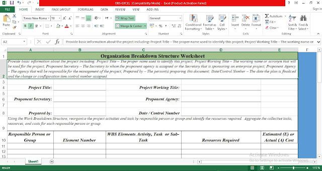 Organization Breakdown Structure Template