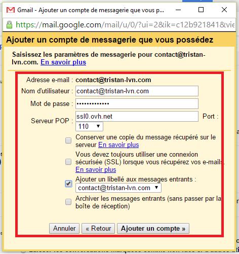 Ajouter un compte de messagerie OVH sur Gmail