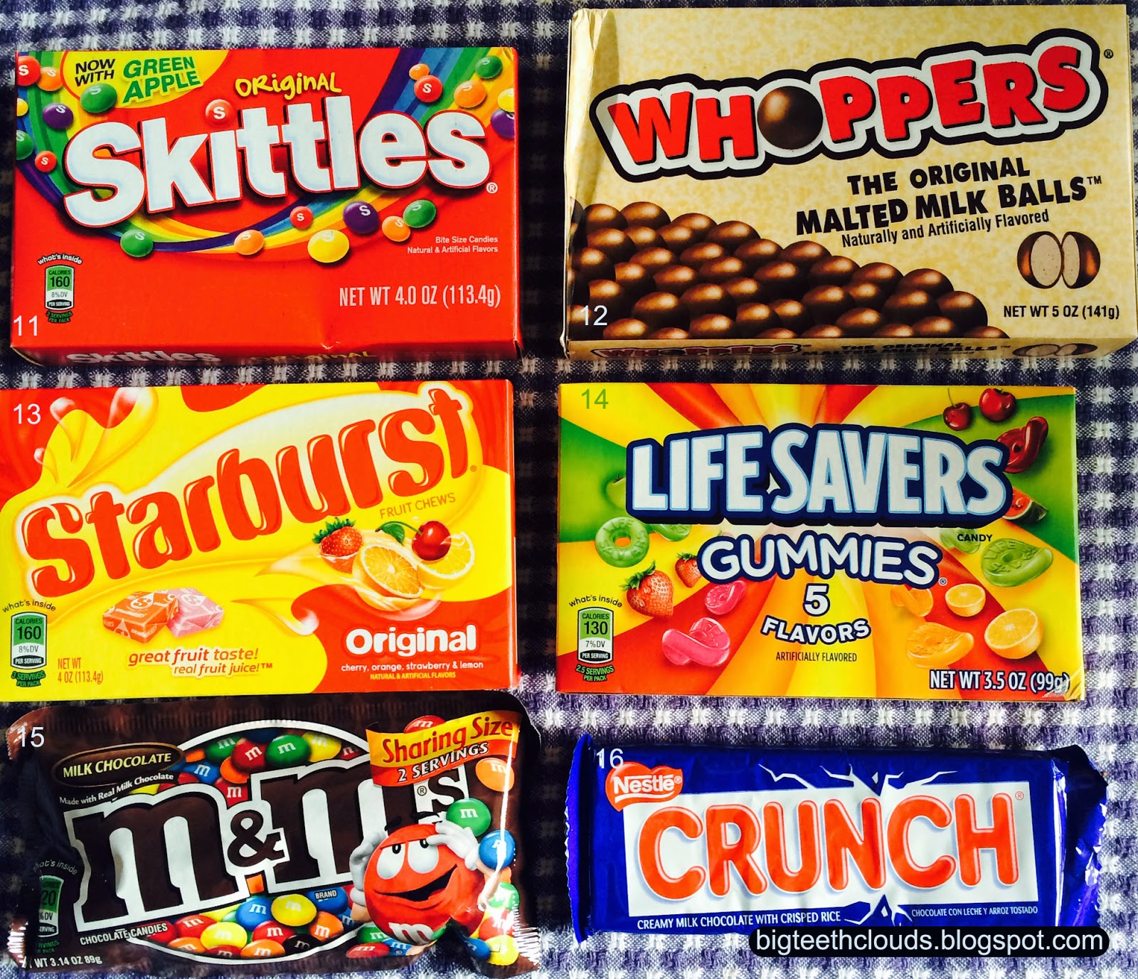 Candy bar awards: Skittles, Whoppers, Starburst, Lifesavers, M&Ms and Crunch