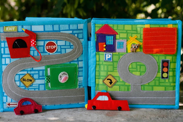 Quiet book for Aria, city roads, handmade by TomToy, unique gift for children, travel toy
