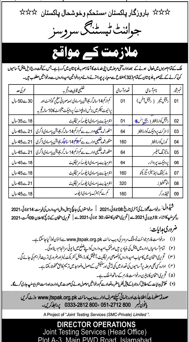 Latest Jobs in Joint Testing Service  JTS - Online Application Form 2021