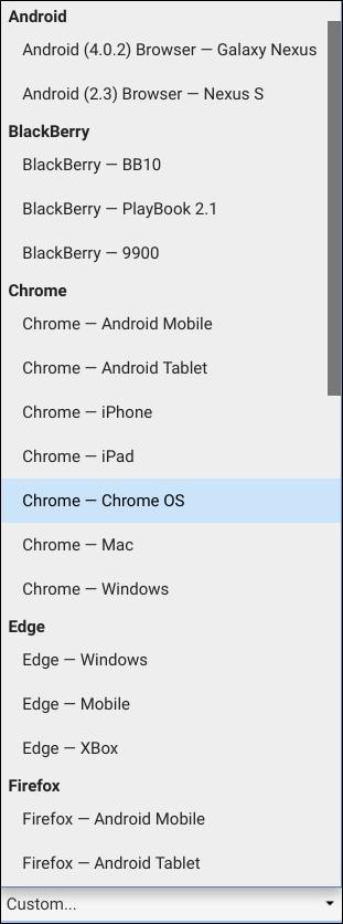 قائمة الاختيار لجميع وكلاء المستخدم المعينين مسبقًا في Chrome.