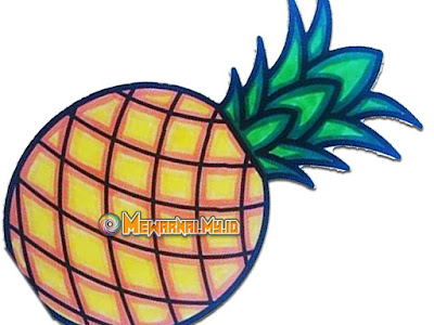 mewarnai gambar buah nanas