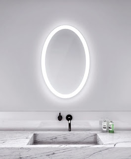 IKEA oval mirror with acrylic lighting for bathroom vanity lighting