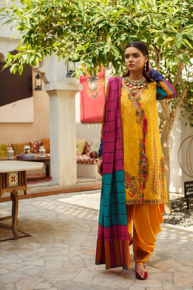 Ethnic Yellow Suit Embroidered Lawn