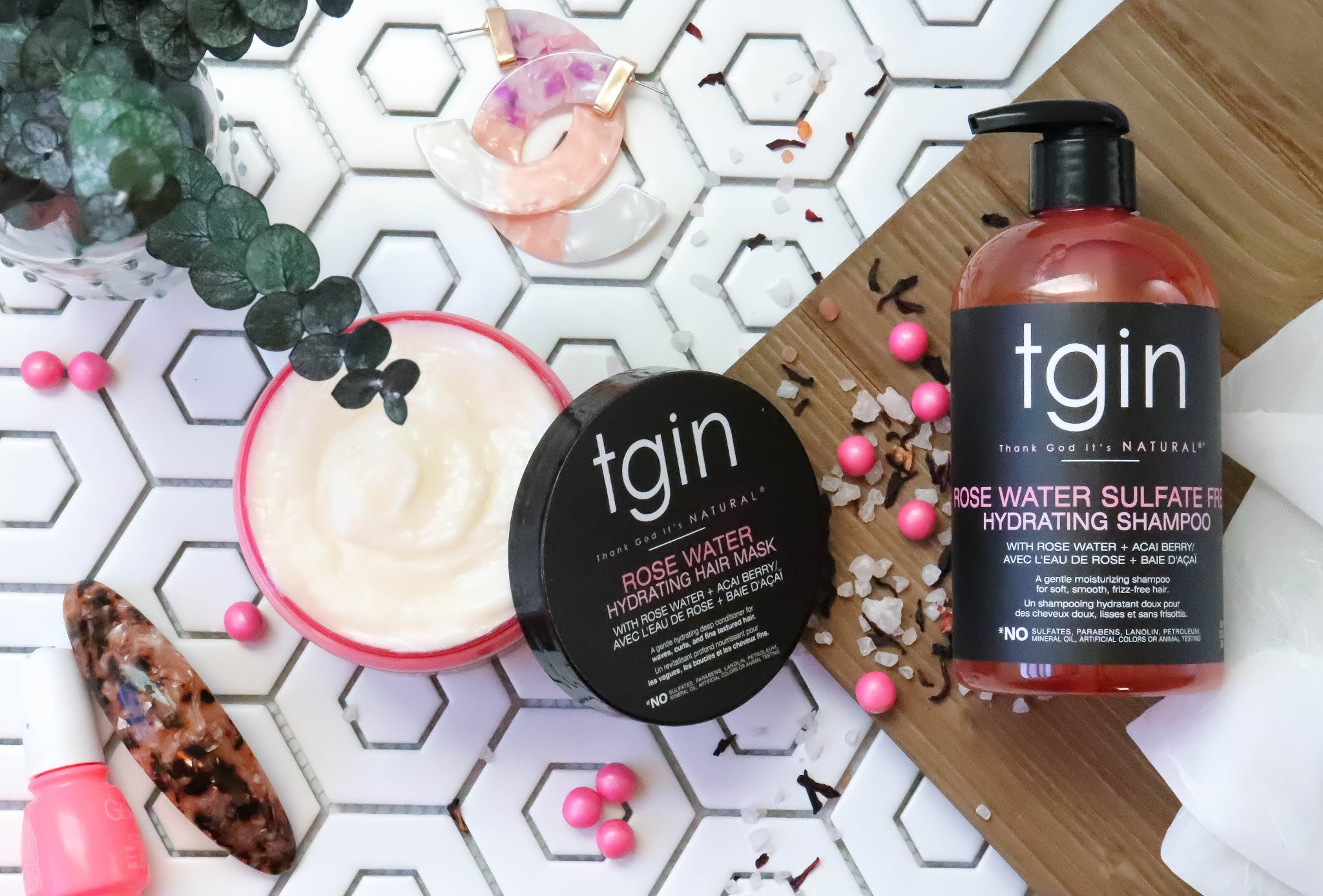tgin curls n roses flatlay with hydrating hair mask and sulfate free shampoo