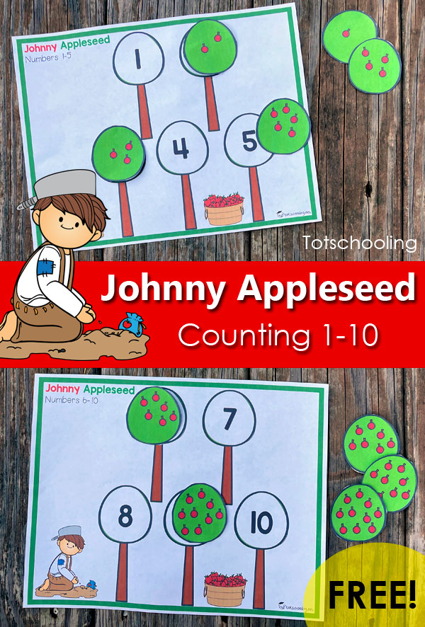 FREE Printable apple-themed counting activity for toddlers and preschoolers, for Johnny Appleseed Day.