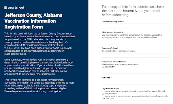 Screenshot, Jefferson County Department of Health's Registration Form Portal. March 6, 2021.