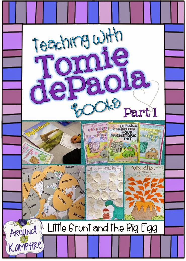 "This teacher shares lots of creative ideas for teaching reading comprehension and story structure, as well as ideas for anchor charts and ""fictional information"" writing plus a FREE story map for teaching with Little Grunt and the Big Egg by Tomie dePaola 