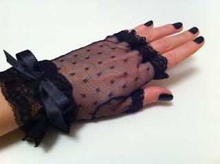 siyah tül eldiven parmaksız