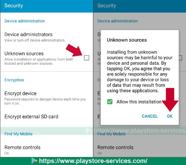 تشغيل ميزة تثبيت التطبيقات من المصدار غير معروفة (Unknown Source)
