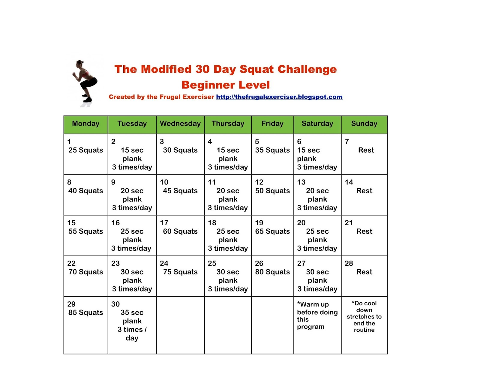 The Frugal Exerciser: The 30 Day Squat Challenge For Beginners