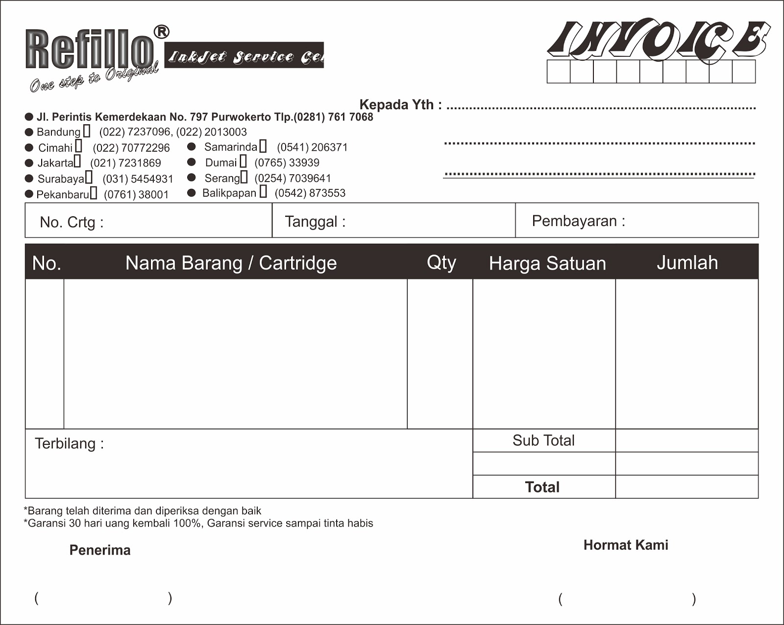 Template Nota Cdr Ldr Print Purwokerto