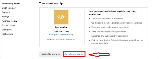Under the Membership section, click on the cancel membership.