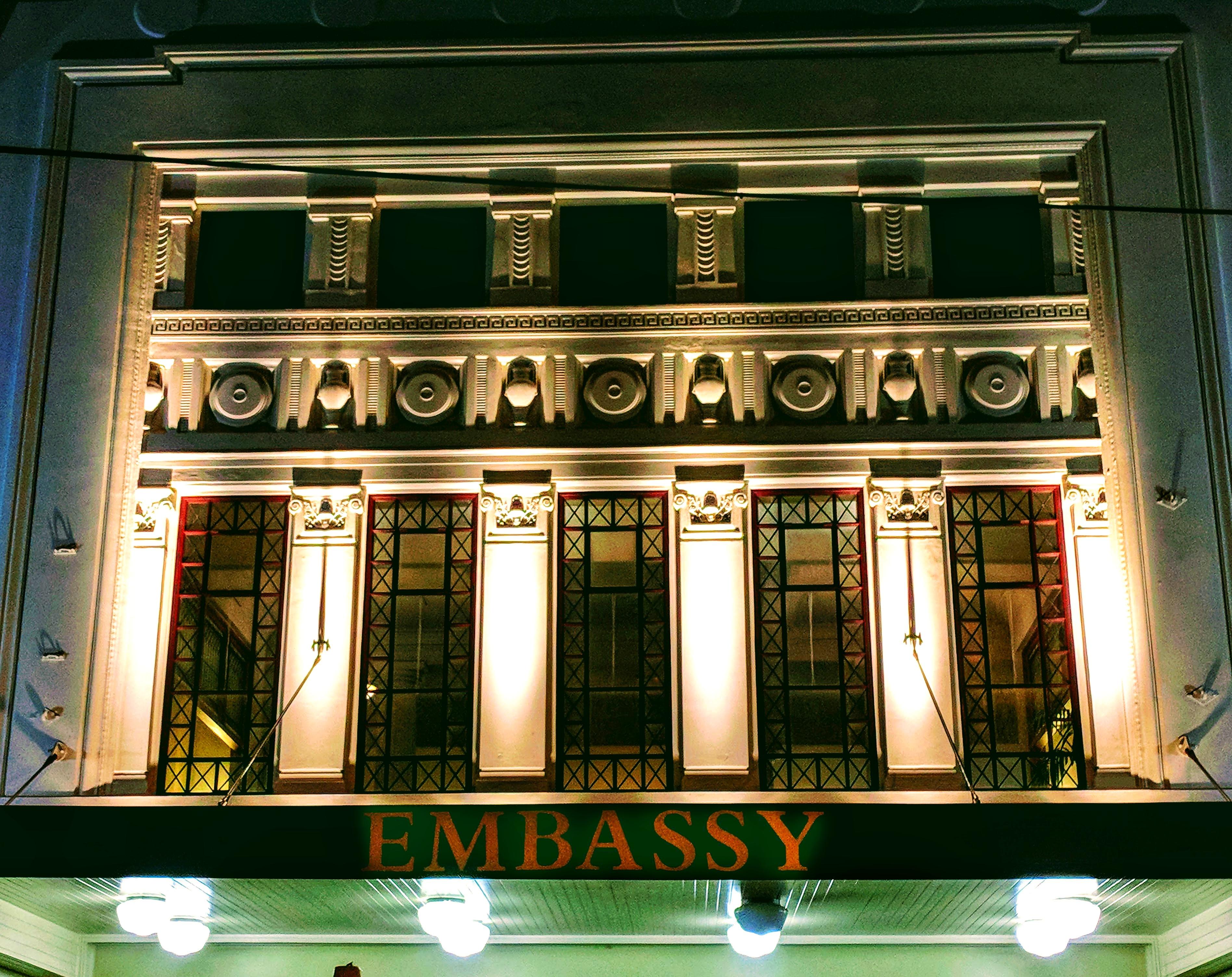 Embassy Cinema at night