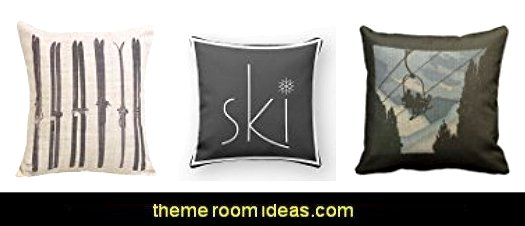 Ski Throw Pillow Cases   Ski cabin decorating - ski lodge decor - winter cabin decorating ski resort bedroom ideas - winter wall murals - ski chalet theme bedroom decorating ideas - modern rustic style winter cabin decor - Swiss alps decoration Alpine theme decorating - adventure bedroom design ideas - ski alps wall decal stickers - Swiss chalet mountain ski lodge murals weather themed bedroom decorating