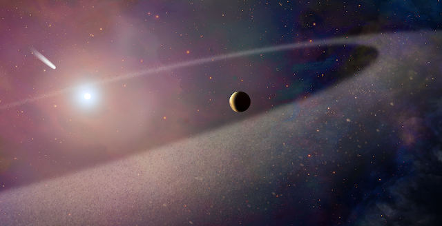This artist's concept shows a massive, comet-like object falling toward a white dwarf. New Hubble Space Telescope findings are evidence for a belt of comet-like bodies orbiting the white dwarf, similar to our solar system's Kuiper Belt. The findings also suggest the presence of one or more unseen surviving planets around the white dwarf, which may have perturbed the belt to hurl icy objects into the burned-out star. Credit: NASA, ESA, and Z. Levy (STScI)