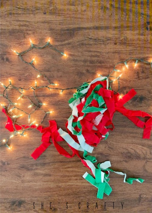 Christmas Garland with fabric and lights  - how to make