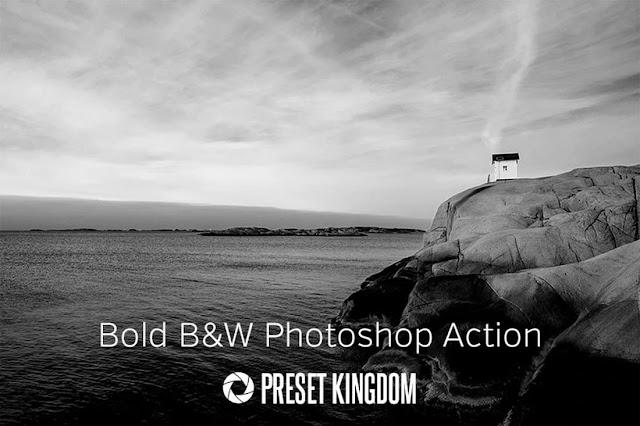 Photoshop Action Bold Black & White Gratis