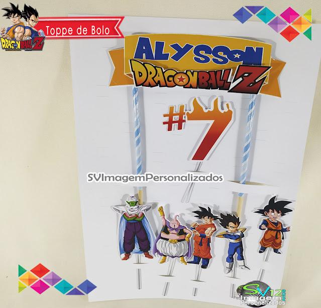 Dragon Ball Z dicas e ideias para decoração de festa personalizados topper de bolo
