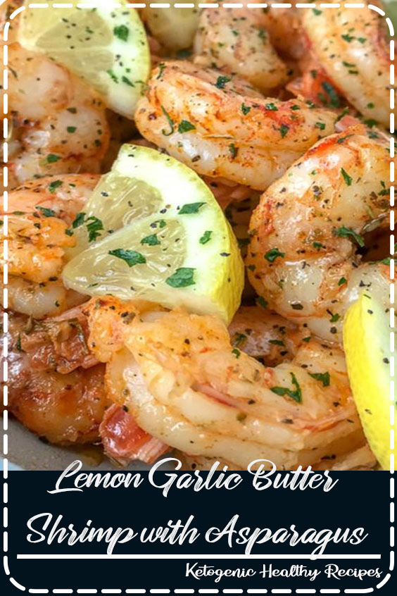 Lemon Garlic Butter Shrimp with Asparagus - this is an easy, light and healthy dinner option that is cooked in one pan and can be on your table in 15 minutes. Buttery shrimp and asparagus flavored with lemon juice and garlic. Only 309 calories per serving