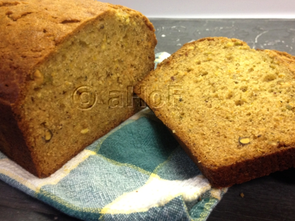 Honey Pistachio Loaf with cardamom and orange flower water