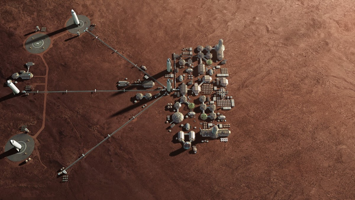 SpaceX's Mars Base Alpha - 2nd stage - mid-sized base