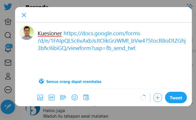 send form melalui twitter