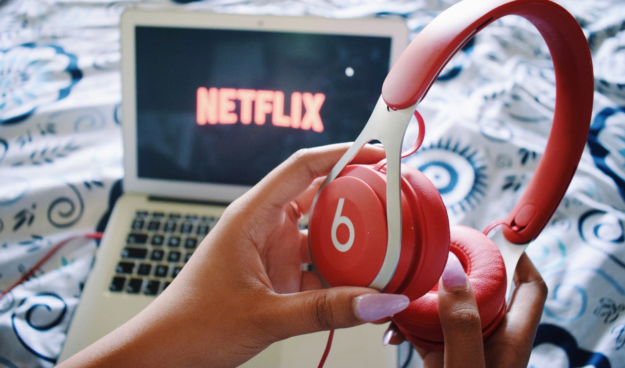 Netflix on MacBook Air and Beats EP