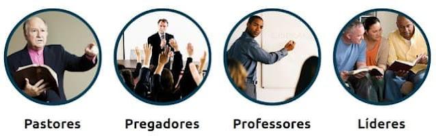 A imagem mostra quatro fotos de pessoas relacionadas a pastores, pregadores, professores e líderes, exatamente nesta ordem.