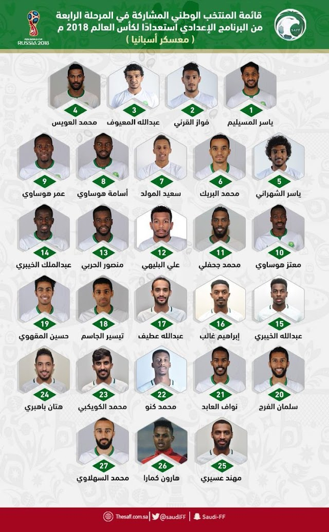 إدارة #المنتخب_السعودي تعلن قائمة الأسماء المختارة لمعسكر أسبانيا
