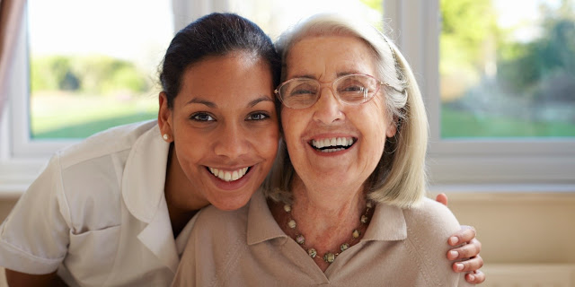 home health aide with elderly adult