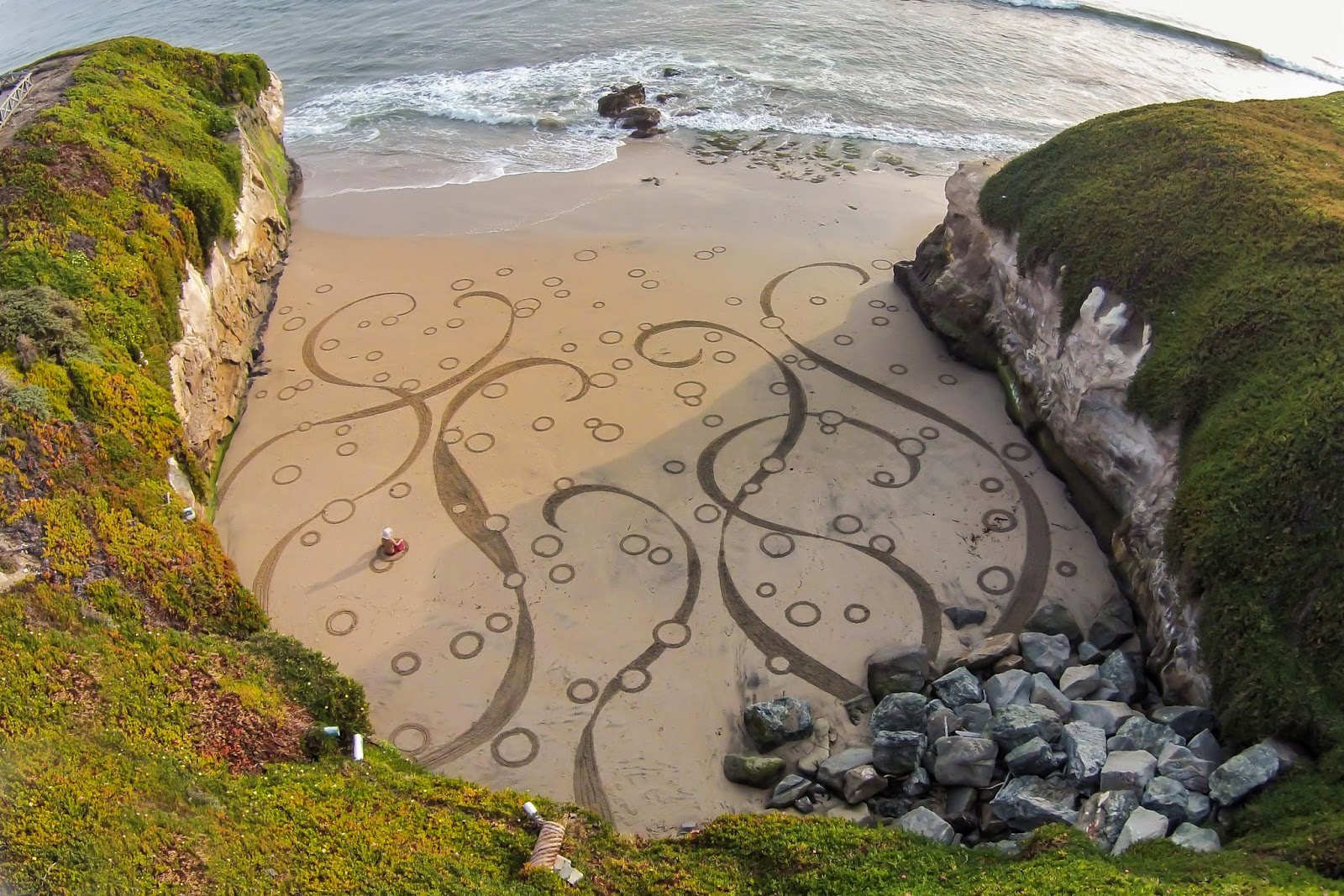 9 Man Uses A Rake On The Beach To Create Masterful Works Of Art