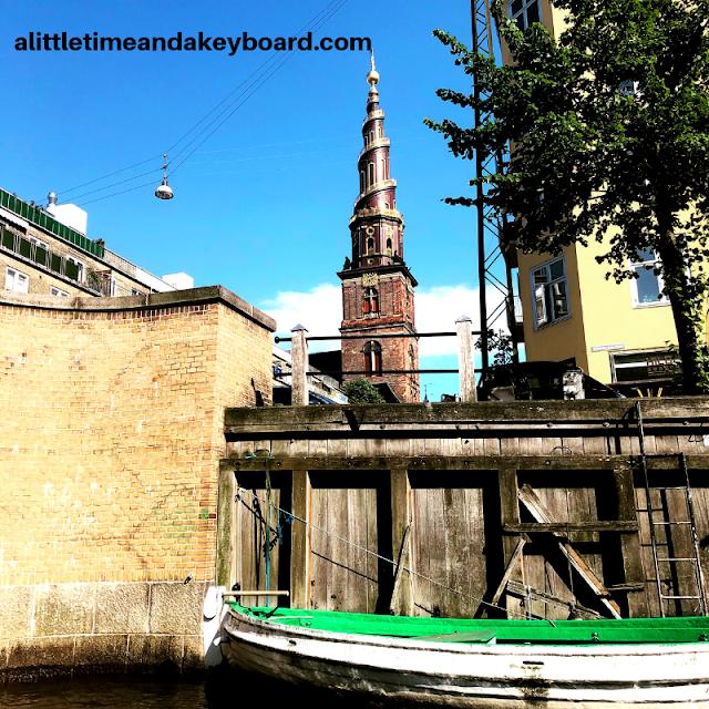 Spiral spire with stairs on Church of Our Saviour in Copenhagen, Denmark