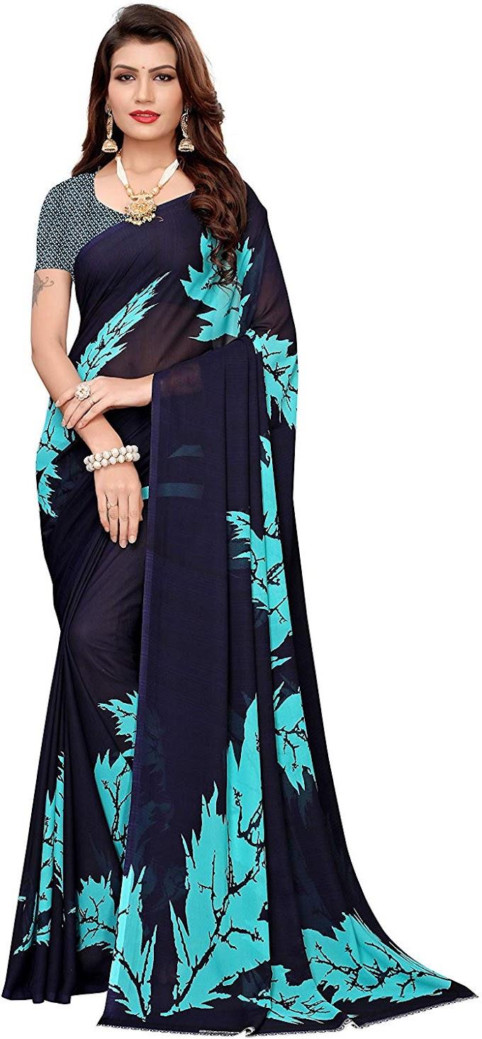 Anni Designer Women's Dark Blue Georgette Floral Printed Saree with Blouse Piece(JESSI 4_Free size)