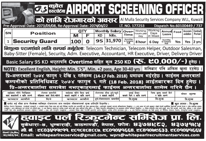 Jobs in Kuwait for Nepali, Salary Rs 31,970