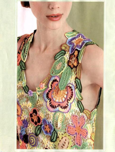 Patron Crochet Top Flores en Relieve